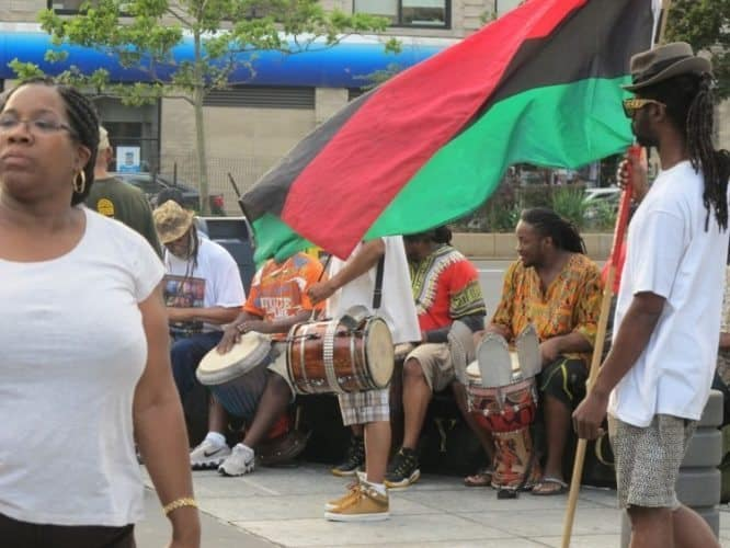 African drummers can be seen most afternoon at the State Office Building Plaza on 125th Street, Harlem
