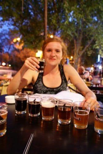 Gwynne Hogan at a beer tasting at jerome Brew Pub in Mendoza.