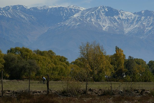 Mountain view from San Carlos in the Uco Valley.