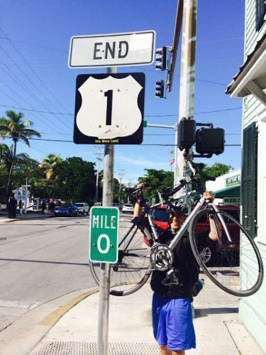 Mile Marker 0 US Highway 1 while cycling the Keys