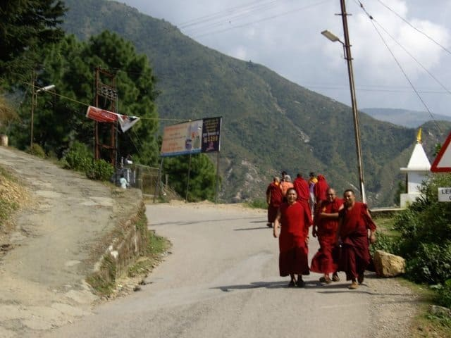 Monks outnumber cars on the roads in McLeod Ganj.