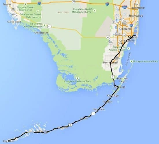 The route we took on our bike holiday cycling the Keys.