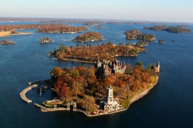 An aerial view of the majestic and tremendous Boldt Castle on Alexandria Bay where all are welcome to visit. When we were touring the land, a wedding procession was just beginning.