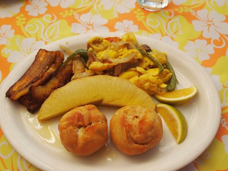 Ackee and saltfish, the national dish of Jamaica. Served with eggs for breakfast.