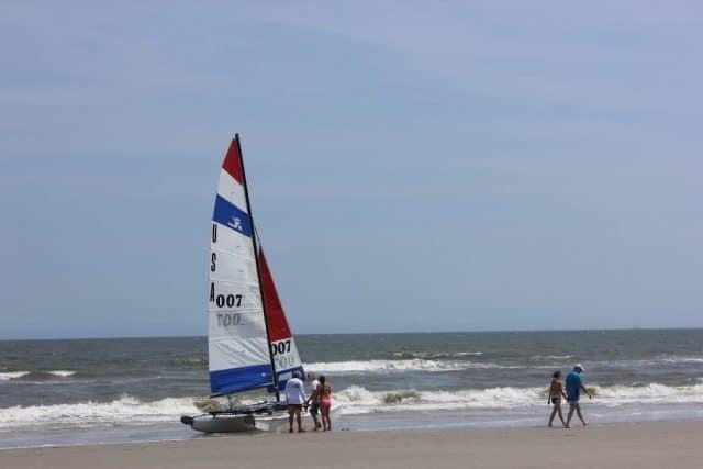 Beached catamaran on Stone Harbor beach.