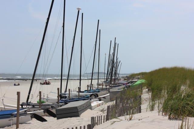 Catamarans on the beach in Stone Harbor.