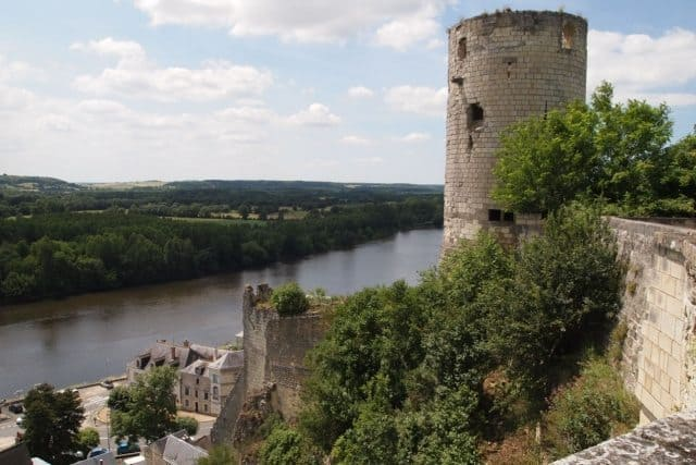Chinon fortress, from the Middle Ages, looking down at the Vienne river.