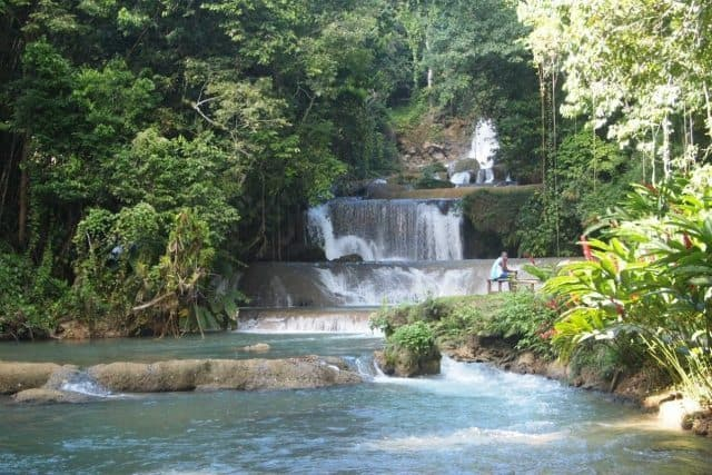 YS Falls in Jamaica. It's a wonderful way to cool off! Max Hartshorne photos.