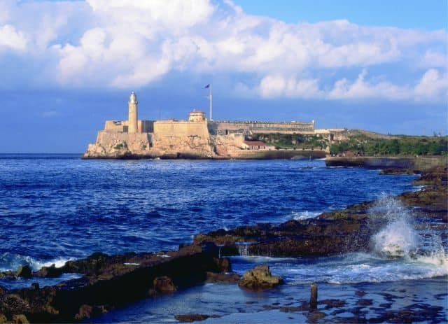 El Morro fortress build by the Spainiards in 1589 is located along the Malecón in Havana.