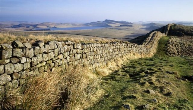 Hadrian's Wall, built by the Romans, cuts across the north of England, not far from Newcastle.