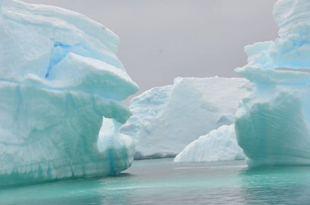 Most of Antarctica is covered with ice a mile thick.