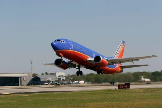 A Southwest Airlines plane takes off from Hobby Airport.