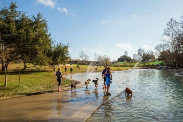The Johnny Steele Dog Park opened on Buffalo Bayou in late 2014 offering more than 2 acres of recreation for four-legged friends. Visit Houston Photos.