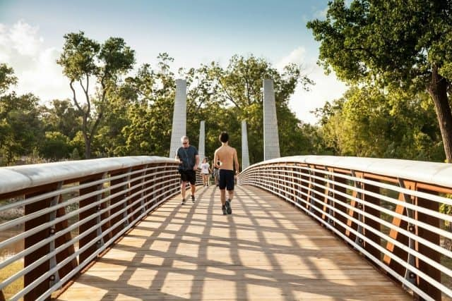 Buffalo Bayou Park offers 160 acres of beautiful scenery and skyline views, iconic fountains and artwork, a large-scale skate park and miles of biking and jogging trails.