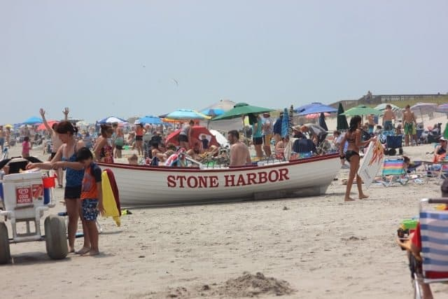 A lifeboat on Stone Harbor Beach, on the Jersey Shore.