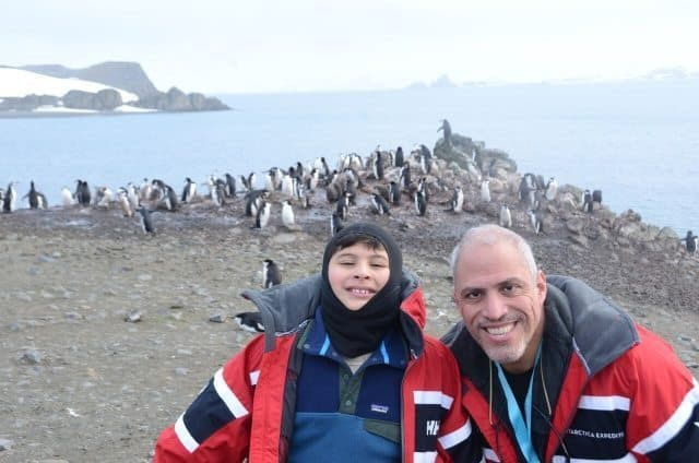 Manuel Lois and his son Eti exploring Antarctica