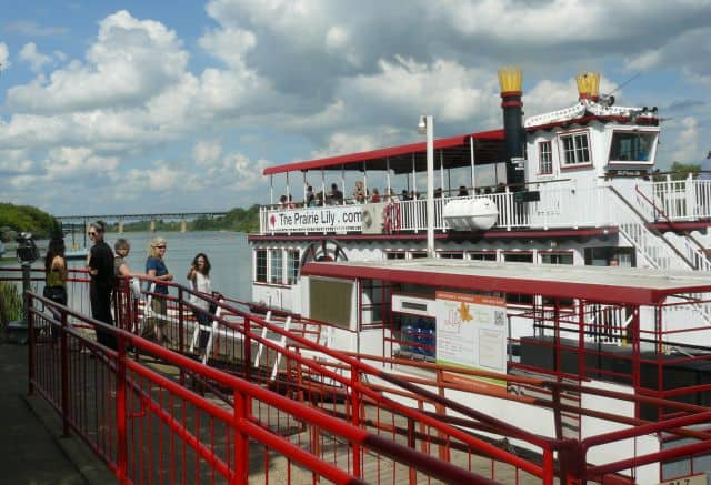 Boarding the Prairie Lily for a riverboat cruise on the South Saskatchewan River.
