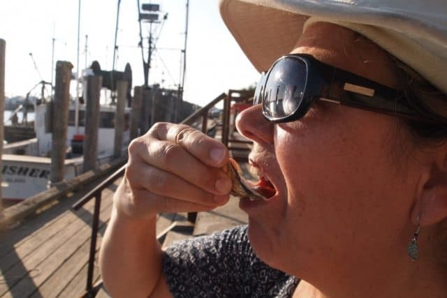 Surping an oyster at Larsens in Menemsha.