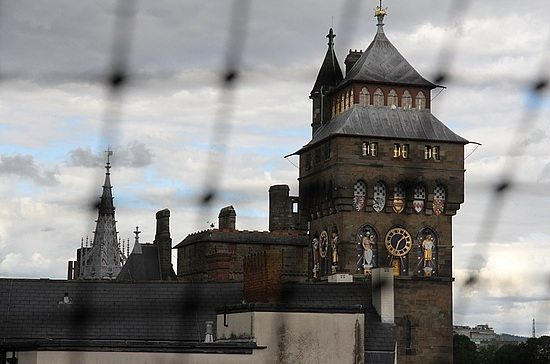 A view of Cardiff Castle from one of the bedrooms at the Safehouse Hostel in the UK.