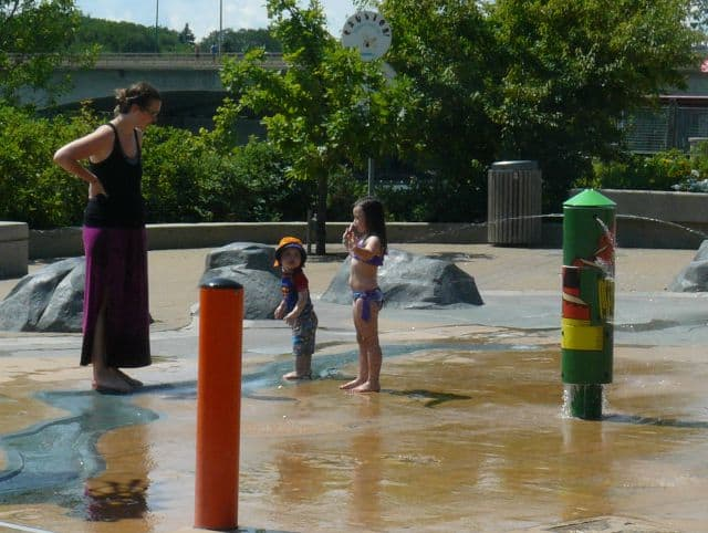 Kids enjoy the new water park by the South Saskatchewan River.