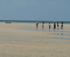 Women with their heads full on the beach in Mozambique.