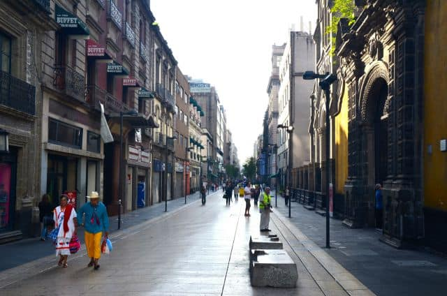 The street leading to the Zocolo, Mexico City's massive square.