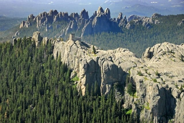 A view of Harney Peak in the Black Hills of South Dakota by helicopter.