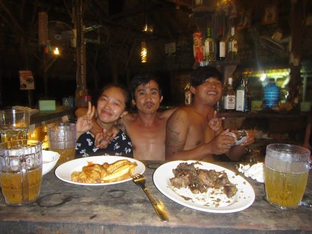 Dining locally on Koh Rong Island.