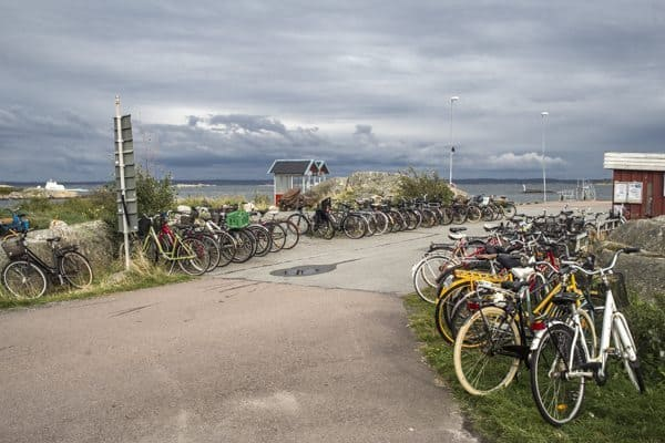 Bicycles line the road on Vrango island.