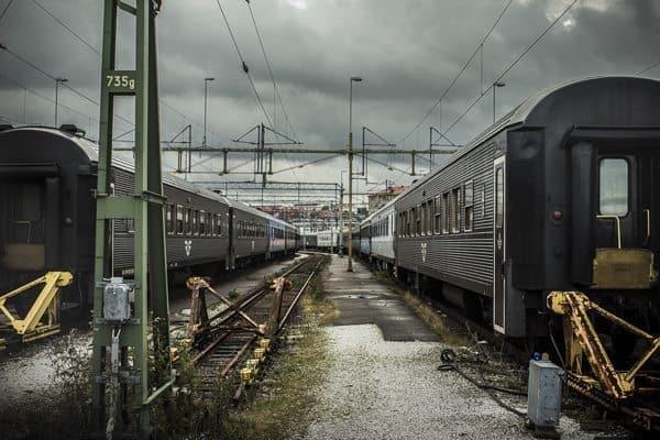Trains wait in the yard in Gothenburg.
