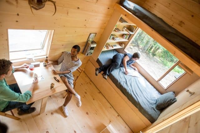 An inside view of one of the tiny houses available for booking.