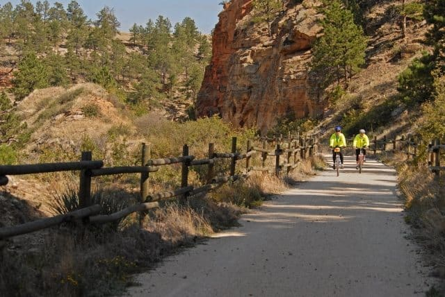 Mountain bikers enjoy a ride along the Mickelson Trail in the Black Hills of South Dakota.