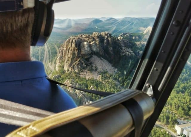 A helicopter tour of Mount Rushmore.
