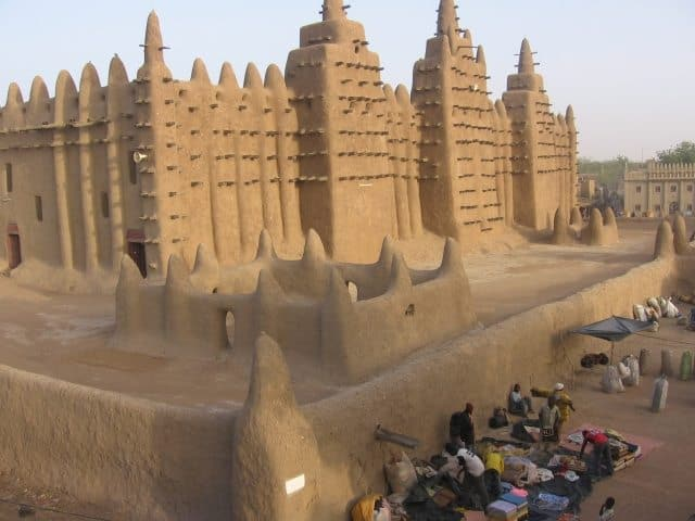The Great Mosque made of sun dried mud bricks and mud mortar.