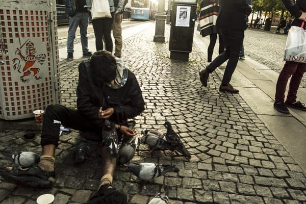 A man feeds pigeons near Central Station.
