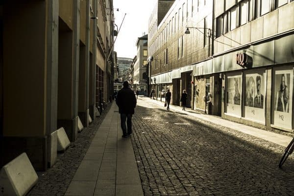 Walking through the streets of downtown Gothenburg.