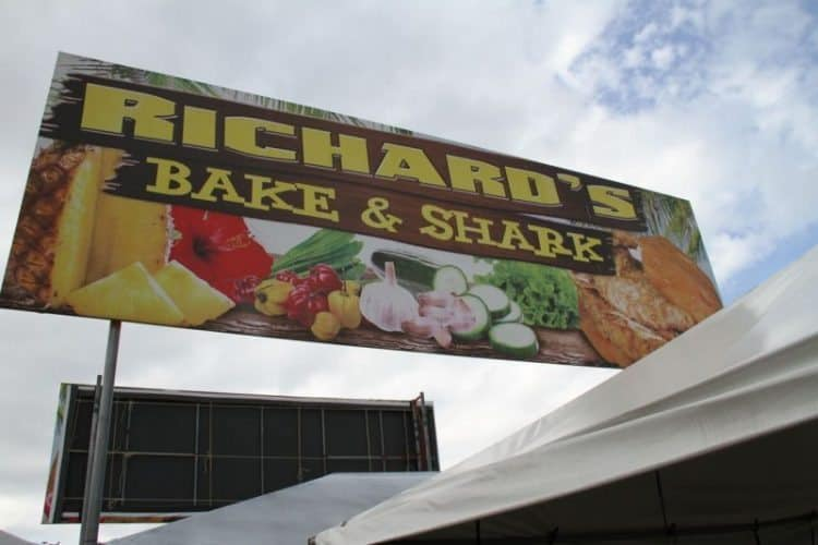 Richard's bake n shark, a Trinidad culinary tradition.