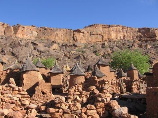 The surrounding landscape is barren djenne Mali