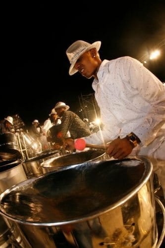 Steelpan players are common sites in Trinidad.
