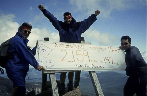 Jeff Alt celebrates at the end of the 2,160 mile Appalachian Trail.
