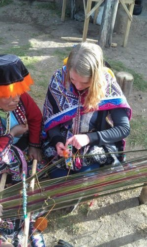 Learning how to make textiles in Peru.