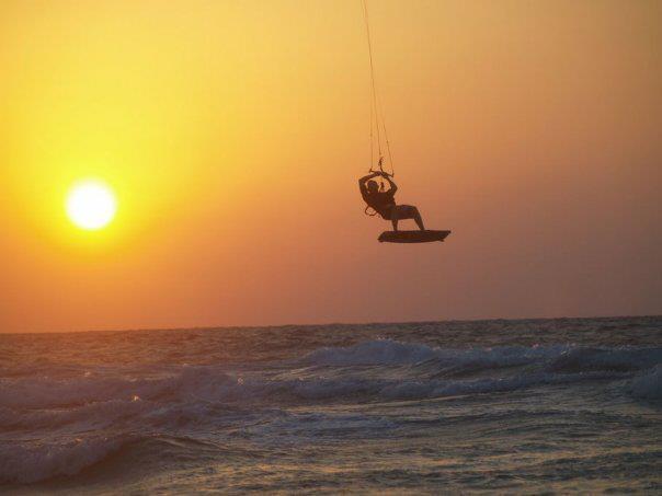 Kite surfing on the Mediterranean Sea in Israel. Eitan Fridman Photos.