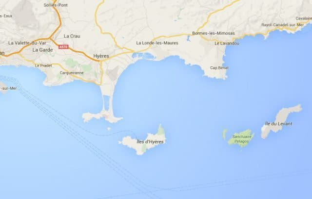 Porquerelles is an island below Hyeres, Provence France, just below the T-shaped peninsula.
