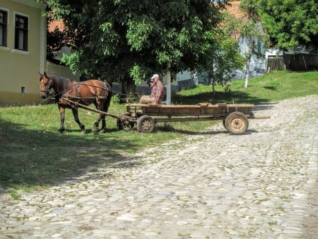 Horse-drawn carts are everyday transportation in Transylvania's villages and rural areas.