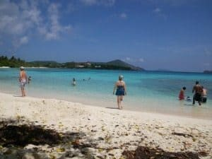 Sapphire Beach, looking out toward the bay. The water is warm and calm.
