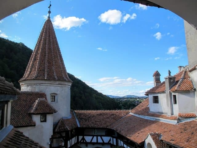 Bran Castle, built on a precipice to guard the gateway to Transylvania, has a commanding view of the surrounding countryside.