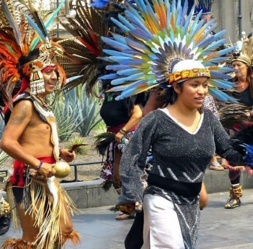 Visiting Mexico City: Aztec Dancers on the Zócalo, the huge city square. Jeanne Block Photos.