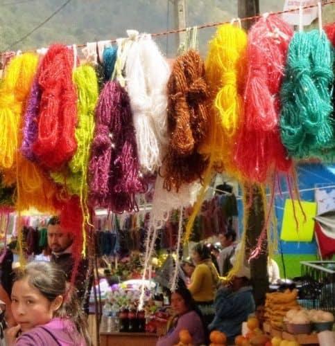 Colored yarn Tenejapa market