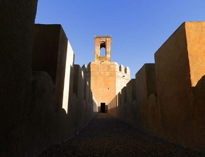 Espantaperros Tower Alcazabas distinctive watchtower.