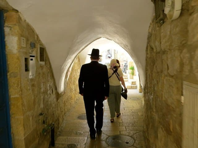 Walking through the Old City of Jerusalem.